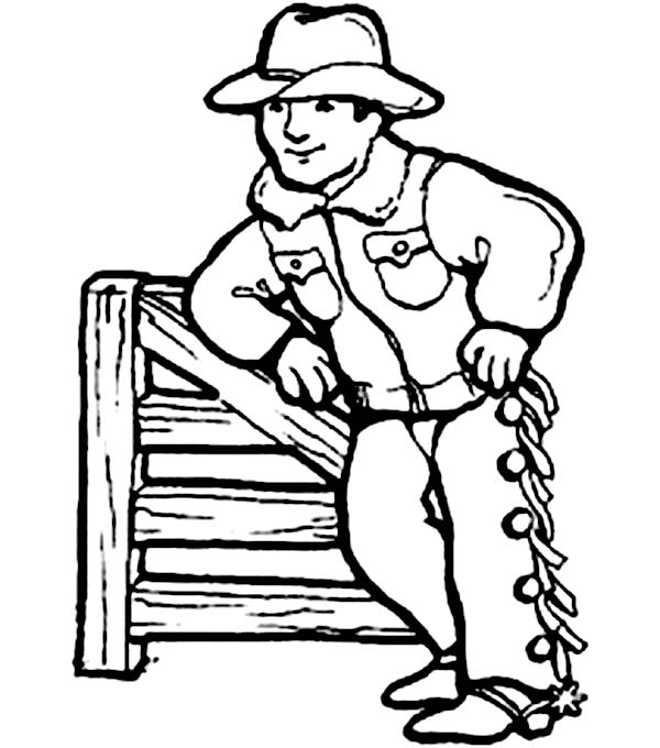 Cowboy, : Cowboy Prepare for His Turn to do Rodeo Coloring Page