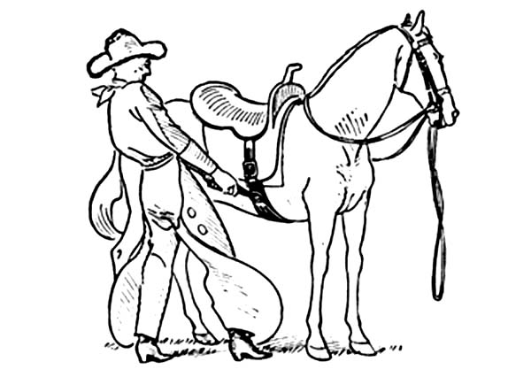 Cowboy, : Cowboy Put Saddles Onto Horseback Coloring Page