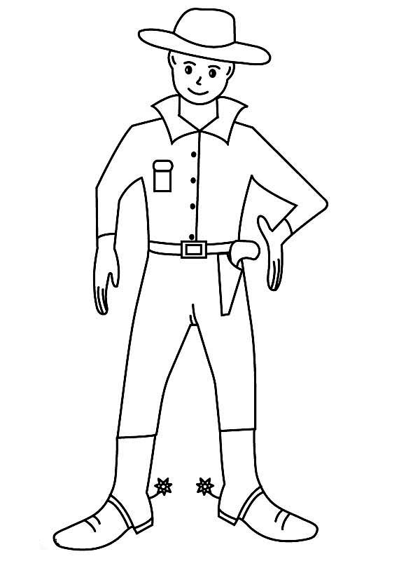 Cowboy, : Cowboy Ready to Duel Coloring Page