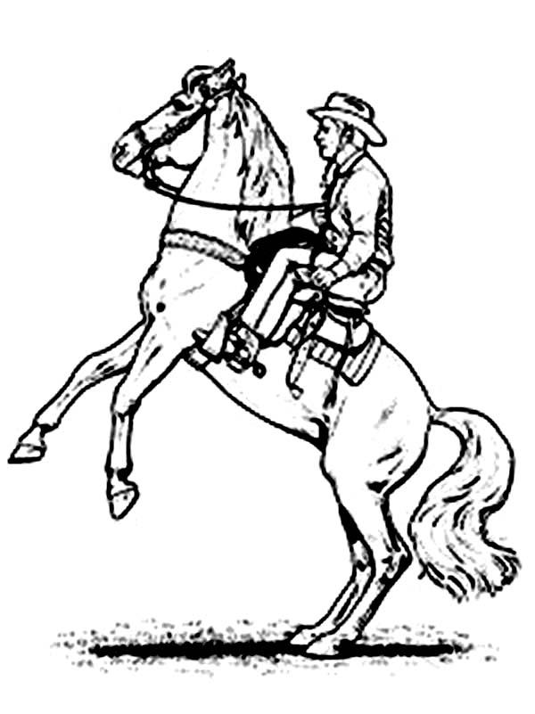 Cowboy, : Cowboy Rearing on His Horse Coloring Page