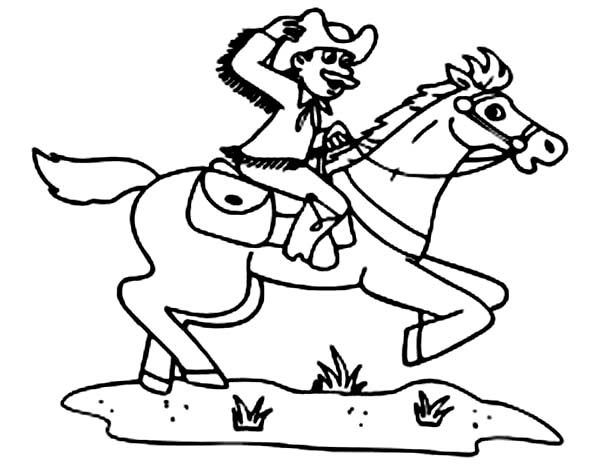 Cowboy, : Cowboy Ride His Horse Fast Coloring Page