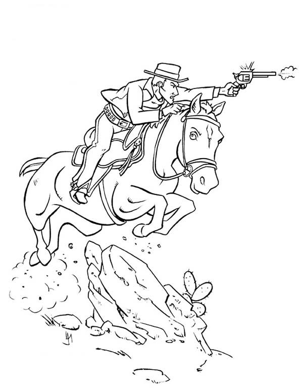 Cowboy, : Cowboy Shooting Bad Guy While Riding Horse Coloring Page
