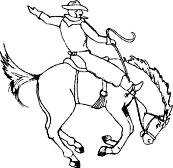 Cowboy, : Cowboy Sitting on Crazy Horse Rodeo Coloring Page