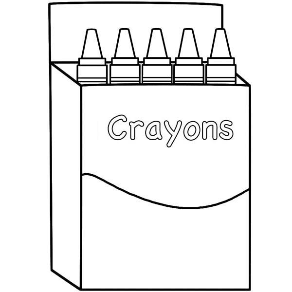 Box, : Crayons Box Coloring Page