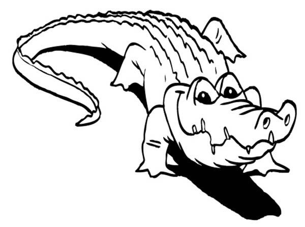 Crocodile, : Crocodile Hunt for His Skin Coloring Page