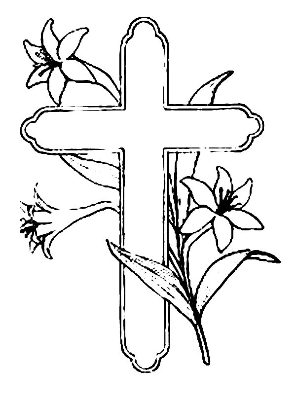 Cross And Beautiful Flower Coloring Page Coloring Sun