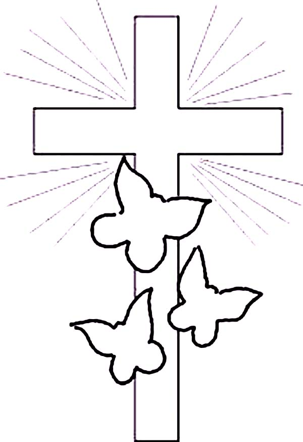 Cross, : Cross and Three Butterfly in Shimmering Light Coloring Page