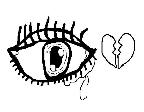 Eyes, : Crying Sad Eyes Coloring Page