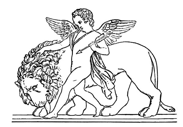 Cupid, : Cupid Fondling a Lion Mane Coloring Page