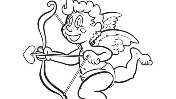 Cupid, : Cupid Using His Arrow and Bow Coloring Page