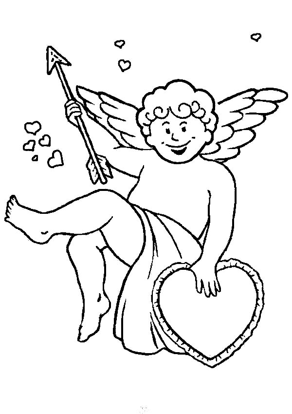 Cupid, : Cupid with Arrow and Love Coloring Page