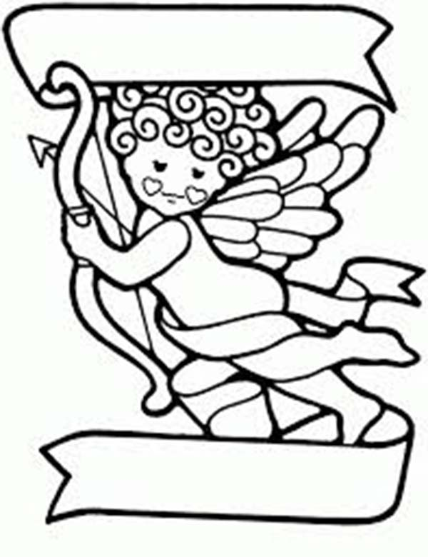Cupid, : Curly Baby Cupid Coloring Page