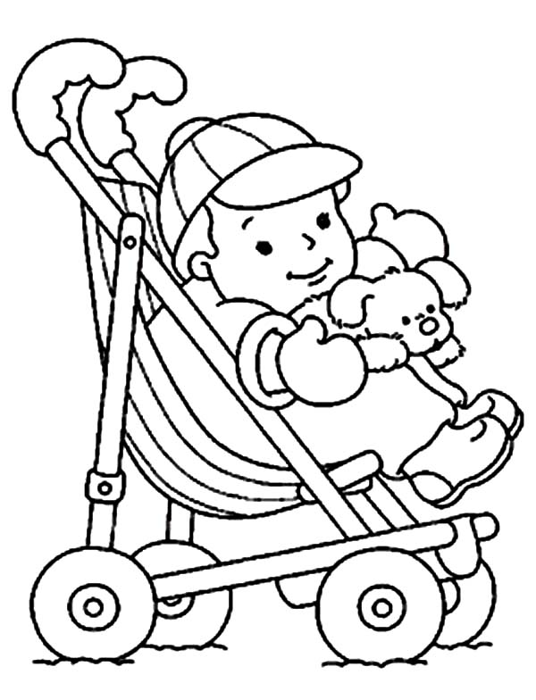 Baby, : Cute Baby in a Stroller Coloring Page