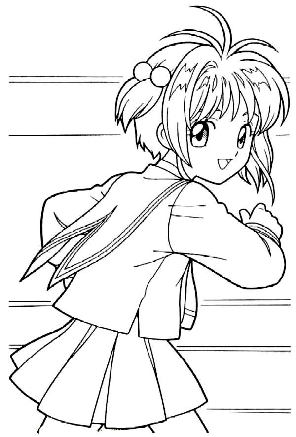 Cardcaptor Sakura, : Cute Cardcaptor Sakura Coloring Page