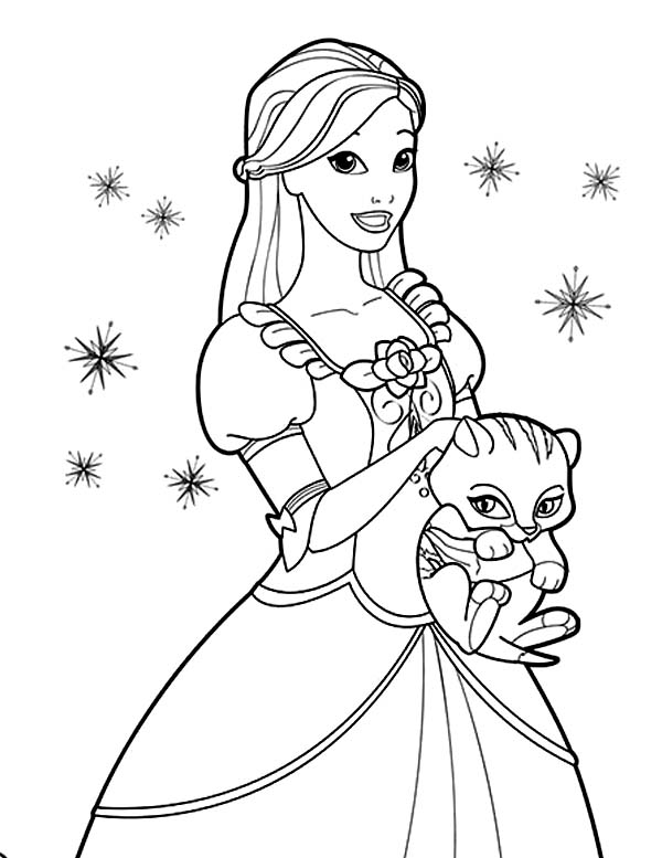 Barbie Princess, : Cute Cat and Barbie Princess Coloring Page
