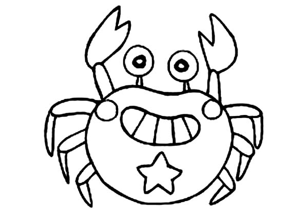 Crab, : Cute Crab Grin Coloring Page