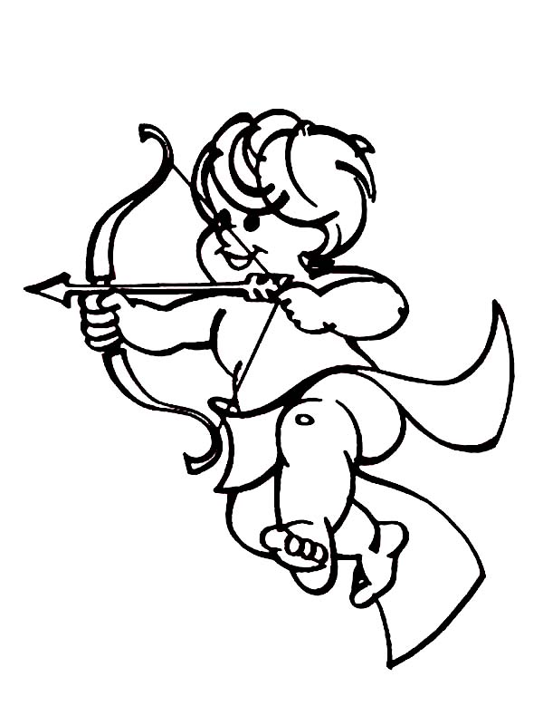 Cupid, : Cute Cupid Shoot an Arrow of Love Coloring Page