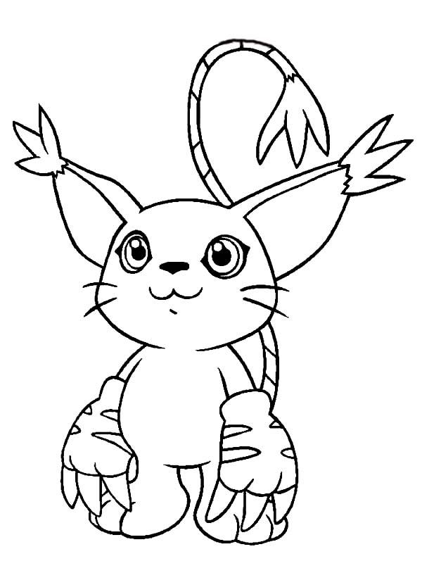 Digimon, : Cute Digimon Gatomon Coloring Page