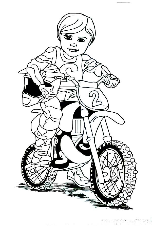 Dirt Bike, : Cute Dirt Bike Rider Coloring Page