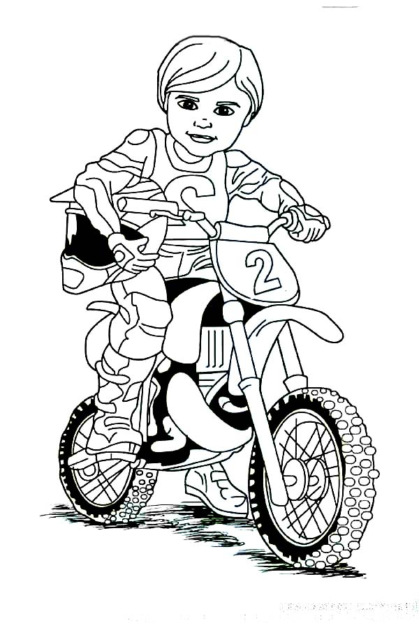 cute dirt bike rider coloring page  cute dirt bike rider