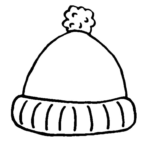 Winter Clothing, : Cute Hat for Winter in Winter Clothing Coloring Page