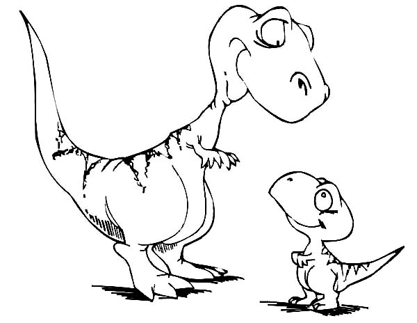 Dinosaurus Train, : Cute Mother and Son of Dinosaurus in Dinosaurus Train Coloring Page