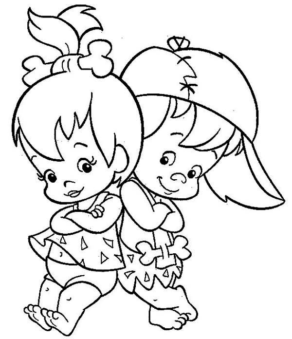 The Flintstones, : Cute Pebbles and Bamm Bamm Photo in the Flintstones Coloring Page