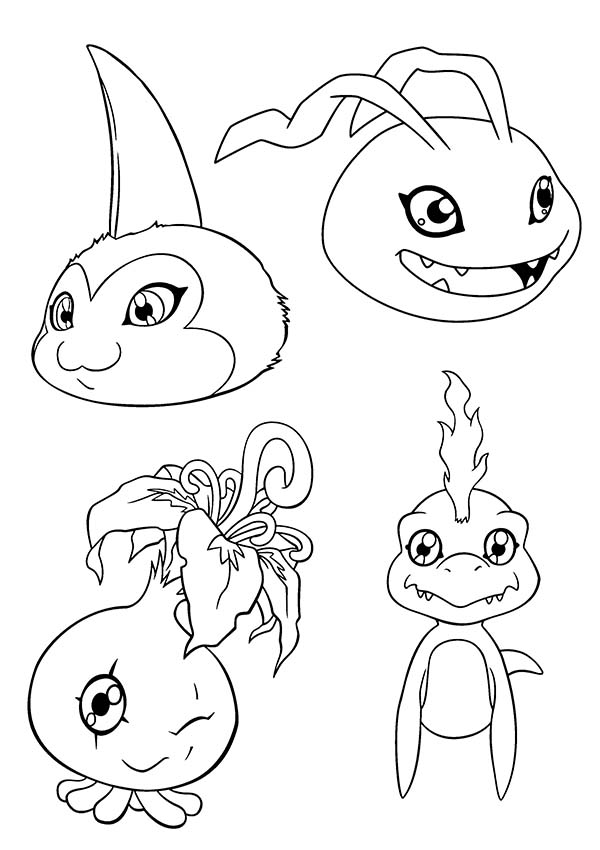 Digimon, : Cute Picture of Digimon Coloring Page