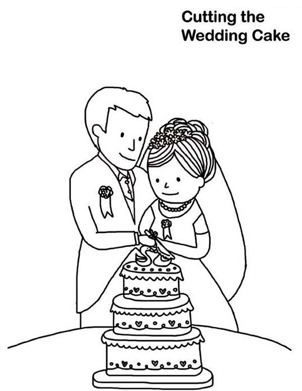 Wedding, : Cutting the Wedding Cake Coloring Page