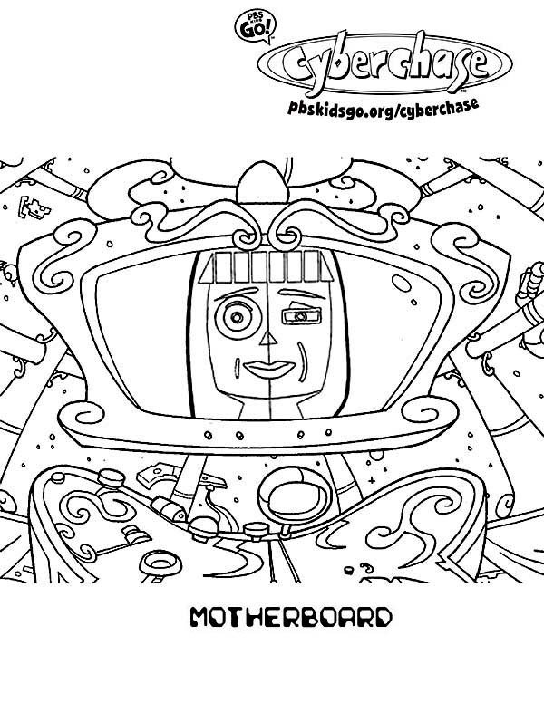 Cyberchase, : Cyberchase Motherboard Coloring Page