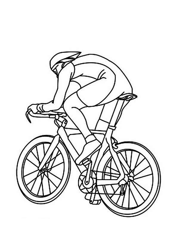 Bicycle, : Cycling Athletes Ride Bicycle Coloring Page