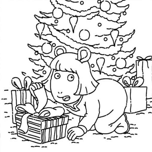 Arthur, : DW Read Open the Present Secretly in Arthur Coloring Page