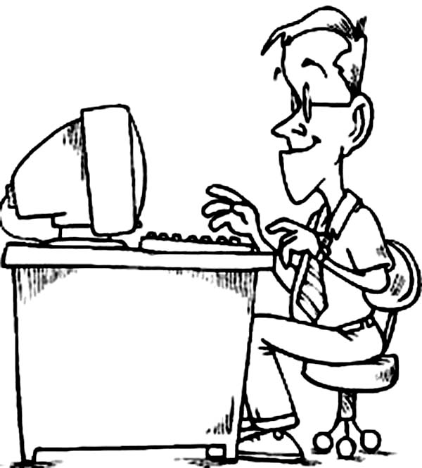 Computer, : Daddy Working with Computer Coloring Page