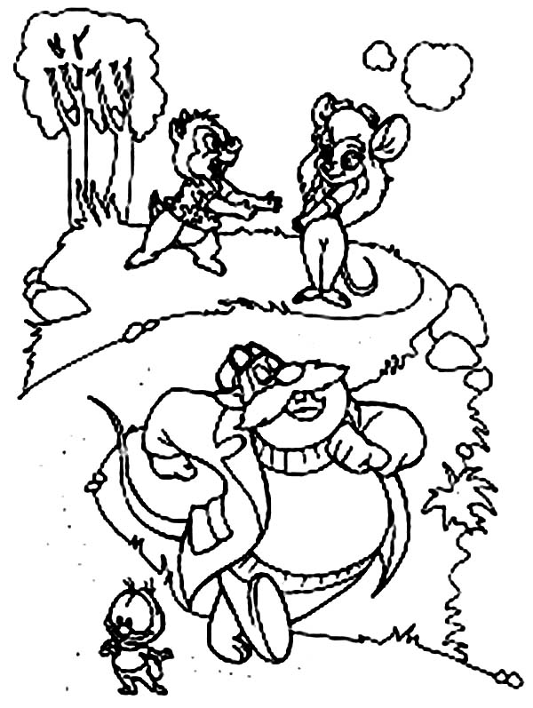 Chip and Dale, : Dale Ask for Gadget Help in Chip and Dale Coloring Page