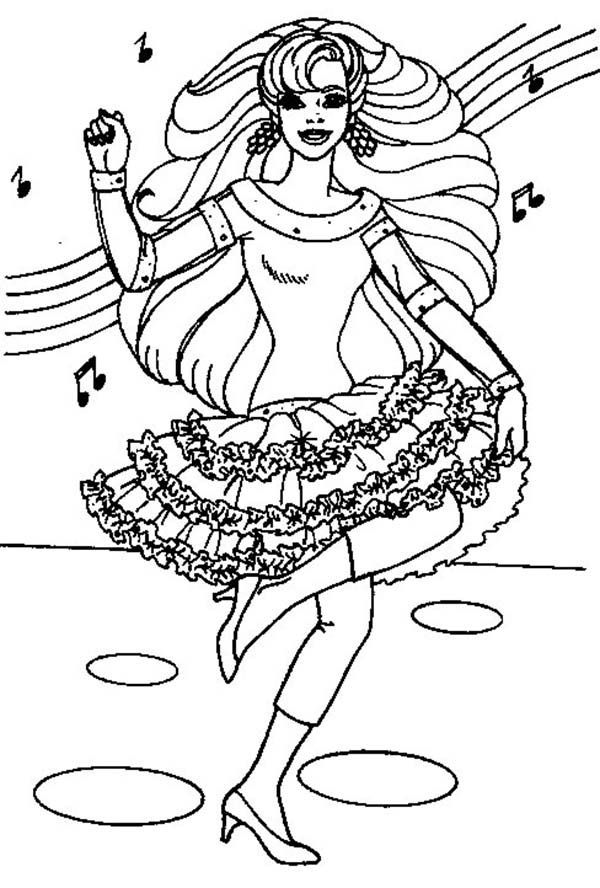 Dance, : Dance with Her Favorite Song Coloring Page
