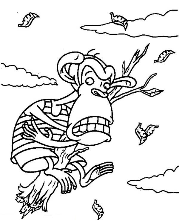Thornberrys, : Darwin Falling Down Holding Piece of Wood in the Thornberrys Coloring Page