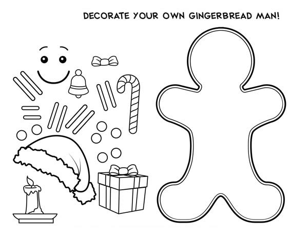 Gingerbread Men, : Decorate Your Own Gingerbread Men Coloring Page