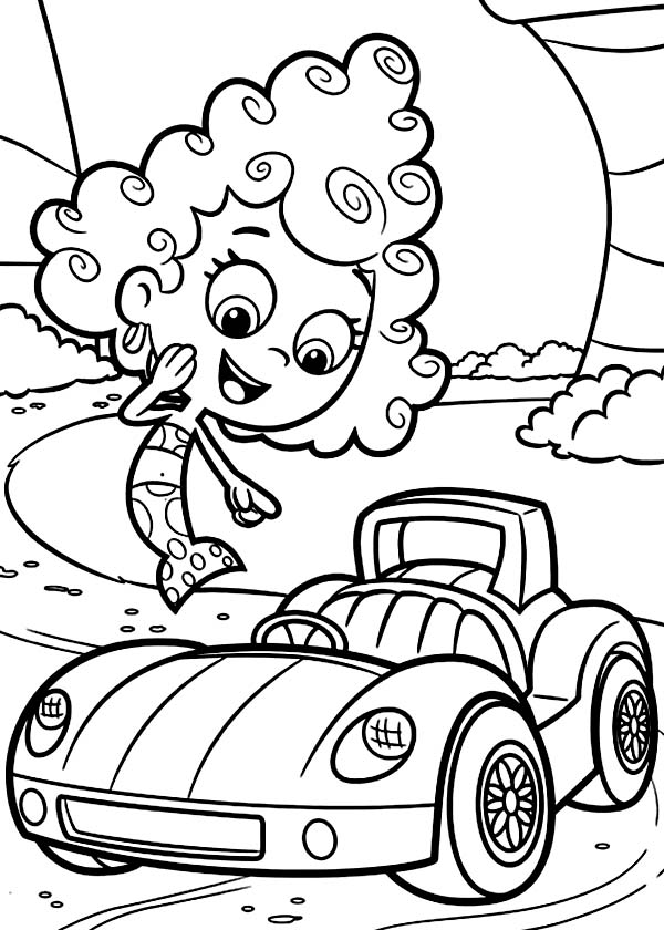Bubble Guppies, : Deema Like Gils Car in Bubble Guppies Coloring Page