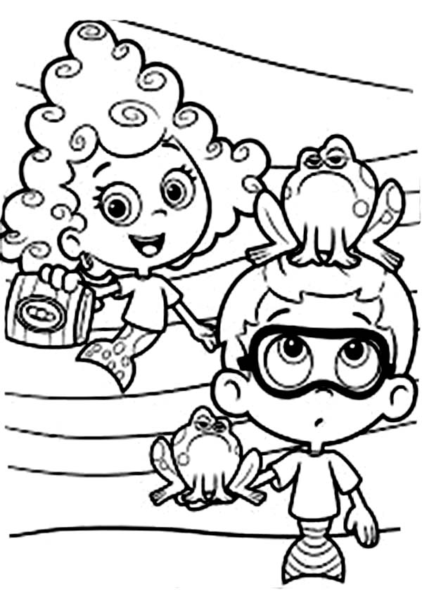 Bubble Guppies, : Deema and Nonny Feeding Frog in Bubble Guppies Coloring Page
