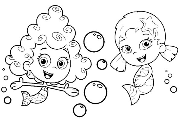 Bubble Guppies, : Deema and Oona Make Bubble in Bubble Guppies Coloring Page
