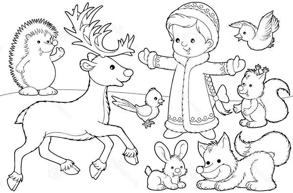Deer, : Deer and Other Animals Coloring Page