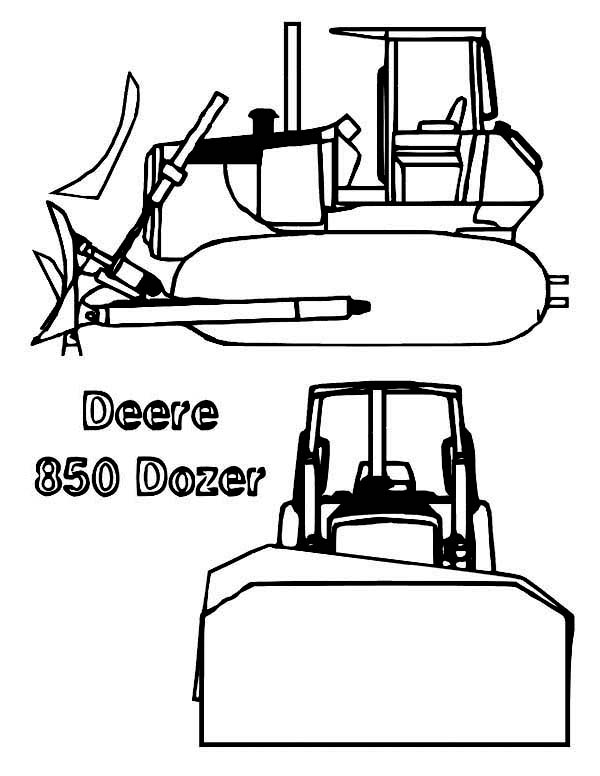 Bulldozer, : Deere 850 Bulldozer Coloring Page