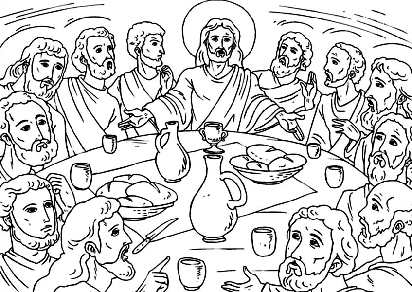 Disciples, : Depiction of Last Supper Jesus and Disciples Coloring Page