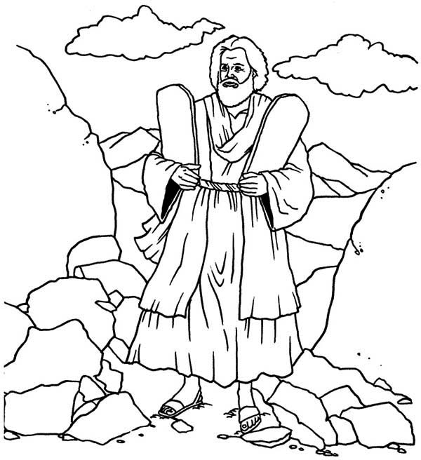 Ten Commandments, : Depiction of Moses and Ten Commandments Coloring Page