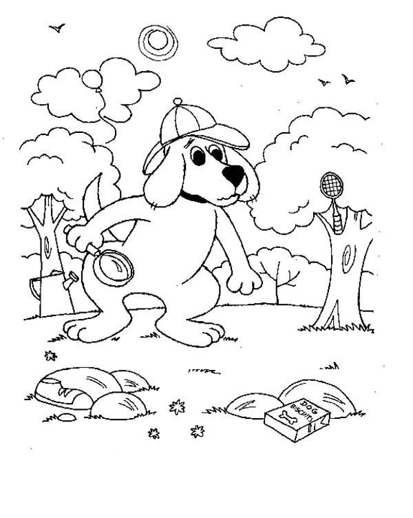 Clifford the Big Red Dog, : Detective Clifford the Big Red Dog Coloring Page