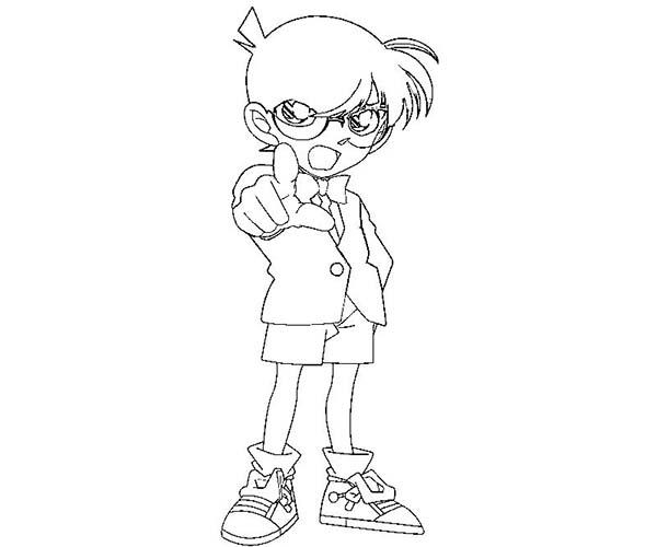 Detective Conan, : Detective Conan Know Who is the Killer Coloring Page