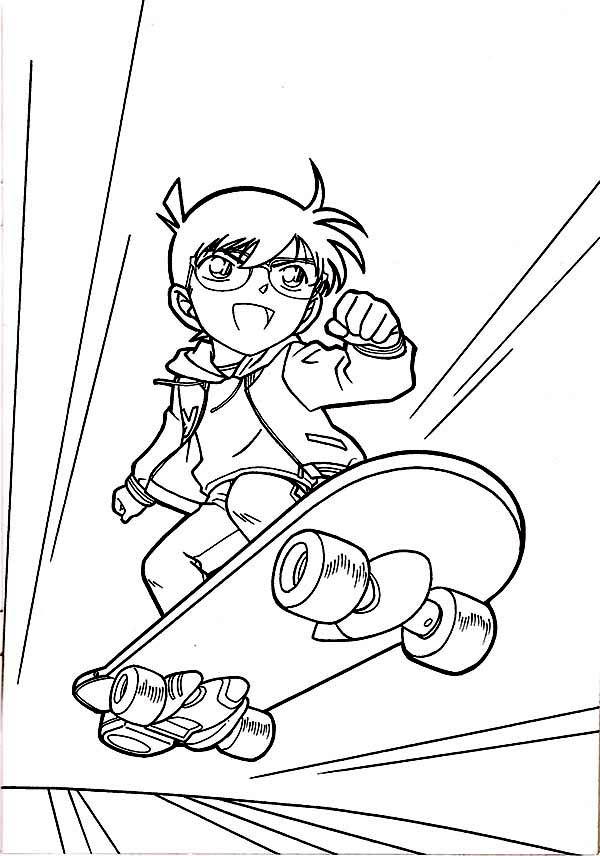 Detective Conan, : Detective Conan Playing Skateboard Coloring Page