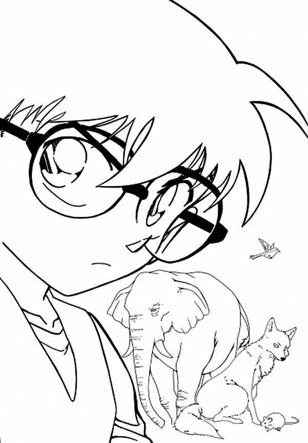 Detective Conan, : Detective Conan Pose Coloring Page