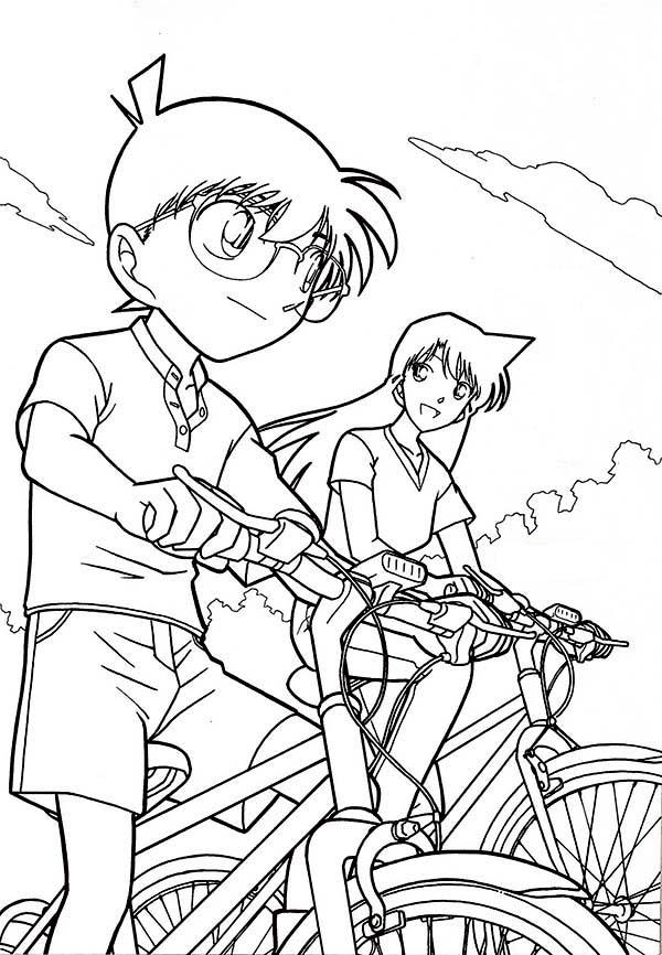 Detective Conan, : Detective Conan Ride Bike with Ran Coloring Page