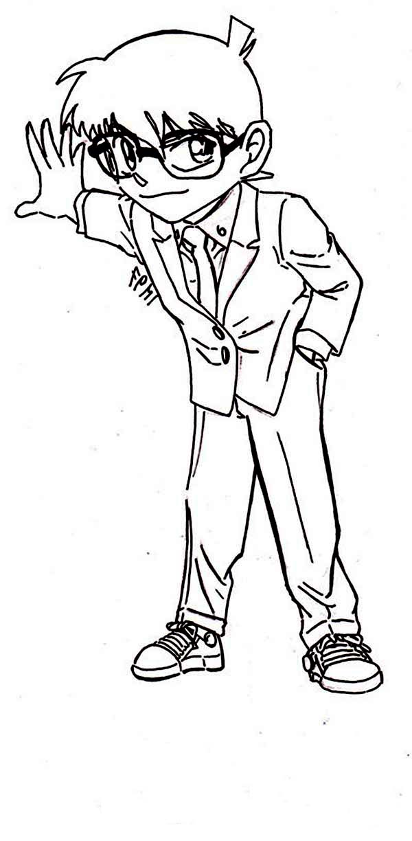 Detective Conan, : Detective Conan Try to Find a Clue Coloring Page